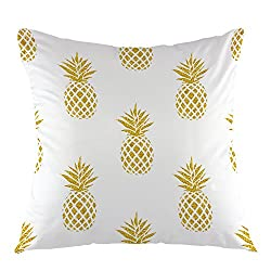 image of a white pillowcase with golden pineapples