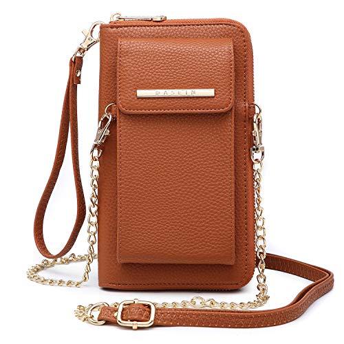 Cellphone Wallet Purse Phone Pouch Wristlet Clutch Crossbody Shoulder Bag - 12 Slots (Brown Color)