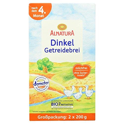 Alnatura Bio Dinkel Getreidebrei nach dem 4. Monat - Großpackung, 2 Beutel, 400 g