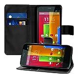 kwmobile Motorola Moto G (1. Gen) Hülle - Kunstleder Wallet Case für Motorola Moto G (1. Gen) mit Kartenfächern & Stand