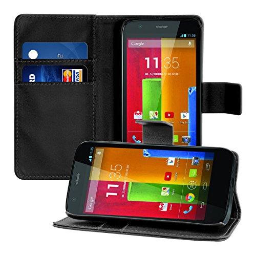 kwmobile Hülle kompatibel mit Motorola Moto G (1. Gen) - Kunstleder Wallet Case mit Kartenfächern Stand in Schwarz