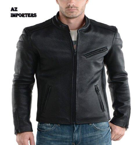 AZ New Style Cuir Veste en cuir de qualité premium - Noir - Large