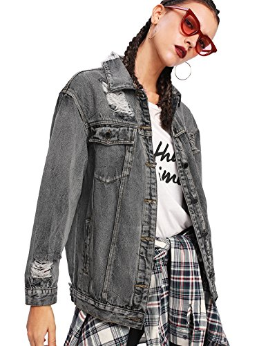 Floerns Women's Ripped Distressed Casual Long Sleeve Denim Jacket Grey XL