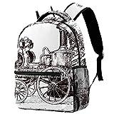 Mochila vintage con bomba de vapor en carruaje, mochila escolar, mochila de viaje