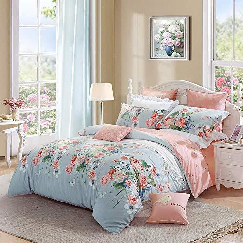 XHHWZB Rose Floral 100% algodón Patchwork Edredón Funda nórdica y Fundas de Almohada Juego de sábanas (King Duvet Cover Set (Color : Style C)