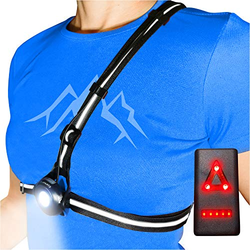 AVANTO PRO Chest Running Light for Runners and Joggers, Original, Adjustable Beam and Reflector, All in one Reflective Running Vest Gear, Safety Light, Headlamp Flashlights, USB LED Bicycle Light