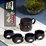 LEBAO Purple Clay Ceramica Te Taza Teteras Teteras Set Radio De La Tetera De Barro Mineral Negro Barro Pintado Lotus Hogar Tetera De Té Juego De Regalo (Color : One Pot and Four Glasses)