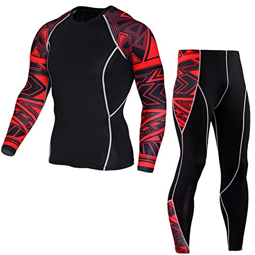 Morbuy Fitness Sportanzug Herren, 2 Stück Funktionsshirt Tights Schnell Trocknend Kompressions T Shirt & Kompressions Leggings Bekleidung (M, Großer roter Ärmelanzug)
