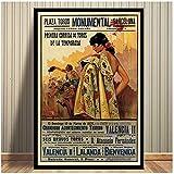 Impresiones de carteles Hot Bullfight Vintage Ad Barcelona España Corrida Movie Art Canvas Wall Painting Picture For Room Home Decor -50x70cmx1pcs -Sin marco