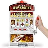 """Origineller Las Vegas Spielautomat für zuhause, mit Hebel zum Starten der drei Rollen Mit authentischen Casino Licht- und Soundeffekten bei Jackpot Gewinnauszahlung bei allen Kombinationen aus """"BAR"""" und """"7"""" Symbolen; Münzen können jederzeit auch manu..."""