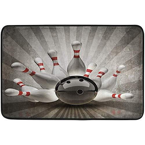 jonycm Teppich Vintage Bowling Ball Art Fußmatten Fußmatte Fußmatte Teppich Innen/Außen Matten Willkommen Fußmatte 40X60cm