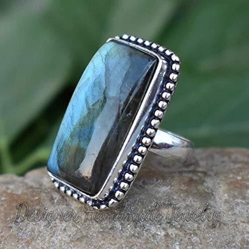 handmade item party wear ring 925 silver Free Size ring Wedding Gift for her Natural gemstone labradorite ring gift for grandmaa