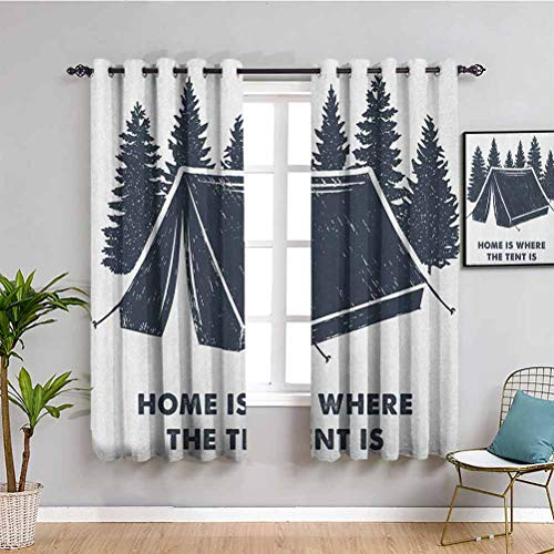 Quote Insulating Room Darkening Blackout, Curtains 63 inch length Home is Where the Tent is Lettering with Pine Trees Camping Travel Theme Waterproof Fabric Dark Blue and White W72 x L63 Inch