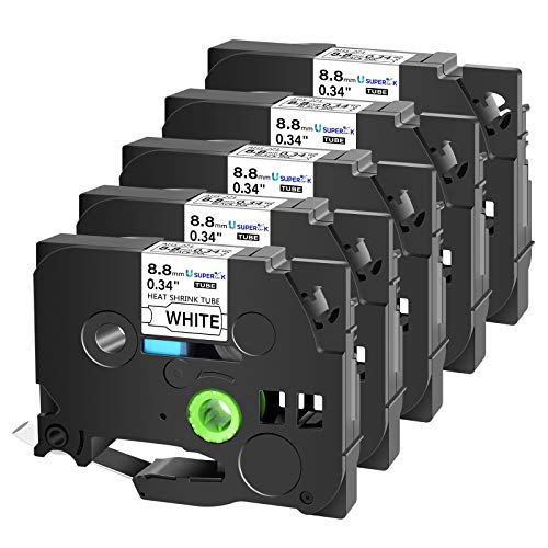 SuperInk 5 Pack Compatible for Brother HSe-221 HSe221 HS-221 HS221 Black on White Heat Shrink Tube Label Tape use in PT-D210 PT-D400 PT-E300 PT-E500 PT-P750WVP Printer (0.34x 4.92ft, 8.8mm x 1.5m)