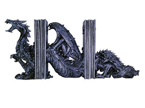 Unbekannt 3 teilige Drachen Buchstütze Drache Dragon Gothik Figur