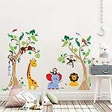 decalmile Pegatinas de Pared Árbol Animales de la Jungla Vinilos Decorativos Infantiles Mono Jirafa Elefante Vinilos Pared Habitación Bebés Niños Guardería Dormitorio Salón