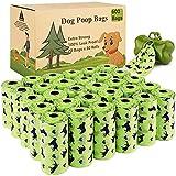 Amzeeniu Bolsas Caca Perro 600 Unidades/20 Rollos Verdo Bolsa para excrementos de Perro Bolsas Perro con 1 Dispensador de Bolsas,Fuerte y a Prueba de Fugas Bolsas para Caca de Perro,Dog Poo Bags