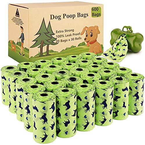 Amzeeniu Sacchetti per Cani,Dog Poo Bags,30 Rotoli (600 Sacchetti) Prova Forti e Prova di Perdite Dog Sacchetti di Rifiuti con Dispensers,Dog Poop Sacchetti per Bisogni dei Cani Borse per Cacca