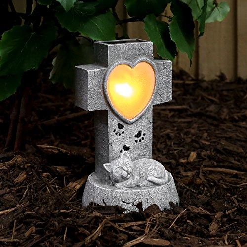 Festive Lights solarbetriebener, geschmackvoll, gediegen und liebevoll gestalteter Gedenkstein für Ihre Katze