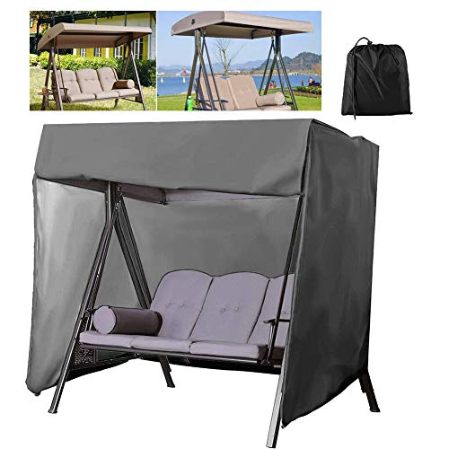 HEWYHAT Porch Swing Cover 3 Triple Seater Hammock Glider Cover 210 D Waterproof Patio UV Block Outdoor Garden Furniture Covers,Gray,223×152×183CM