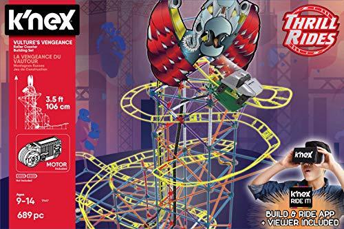 K'Nex 34047 Panther Attack Roller Coaster Bausatz inkl. 3D Viewer Bauspielzeug, Mehrfarbig