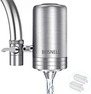 Faucet Water Filter,Water Purifier, 304 Stainless-Steel Tap Water Filter System, Reduce Chlorine, Lead Reduction, Double Outlet (2 Filter Cartridges Included)