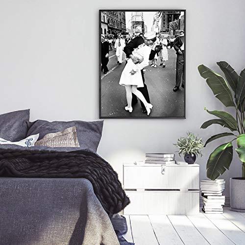 LiMengQi Vintage French Fashion Poster Canvas Art Print, Blanco y Negro Modelo Foto Arte Pintura decoración de la Pared (sin Marco) A5 20x30 cm