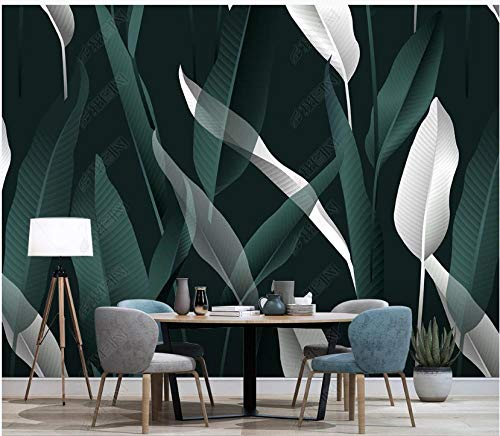 Papel Pintado Pared 3D Hoja De Planta Tropical Verde Sobre Blanco Papel De Pared Tela No Tejida Fotomurales De Decorativos Pared Murales 400x280cm