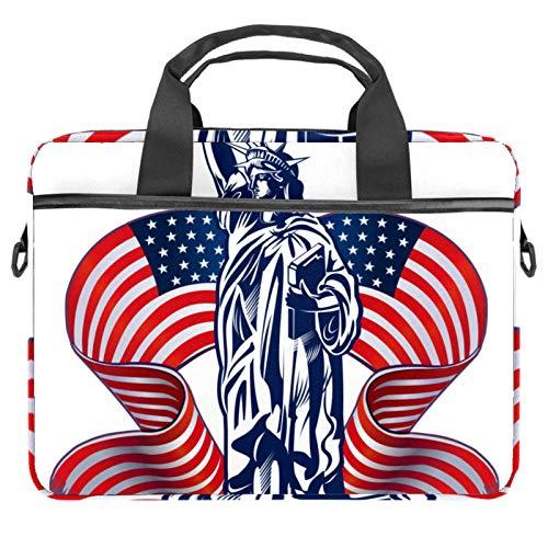 Bolsa para portátil de 15 pulgadas, para negocios, portátil, portátil, bandolera, tablet, para mujeres y hombres, Estatua de la Libertad con bandera americana