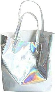 Ofila Holographic PU Tote Handbag Large Hologram Shopper Laser Shoulder Bag for Women