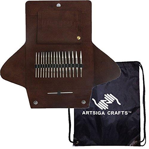 addi Click Short Lace Short Stecksystem weiß-bronzefarben Exklusive rote Kordeln Bundle mit 1 Artsiga Crafts Project Bag