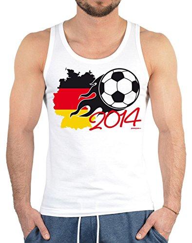 Fussball Fan Tank Top zur WM Party 2014 Deutschland Fußball Weltmeister 2014 Deutschlandkarte in schwarz rot gold Fahne Bundesliega Weltmeisterschaft Fanartikel Fußballfan Gr. XXL in weiss : )