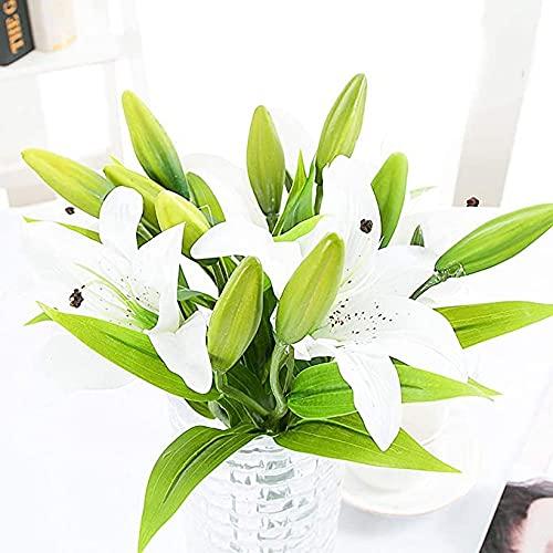 TSLBW 5 Pz Artificiale di Giglio Bianco di Fiori Finti Giglio Falso Fiori di plastica Mazzi di Piante Artificiali per della Festa dell'ufficio dei Piccoli vasi del Giardino della casa di Nozze White