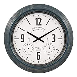 La Crosse Technology 433-3838 18 Hamilton Indoor/Outdoor Metal Analog Quartz Clock, Navy Blue