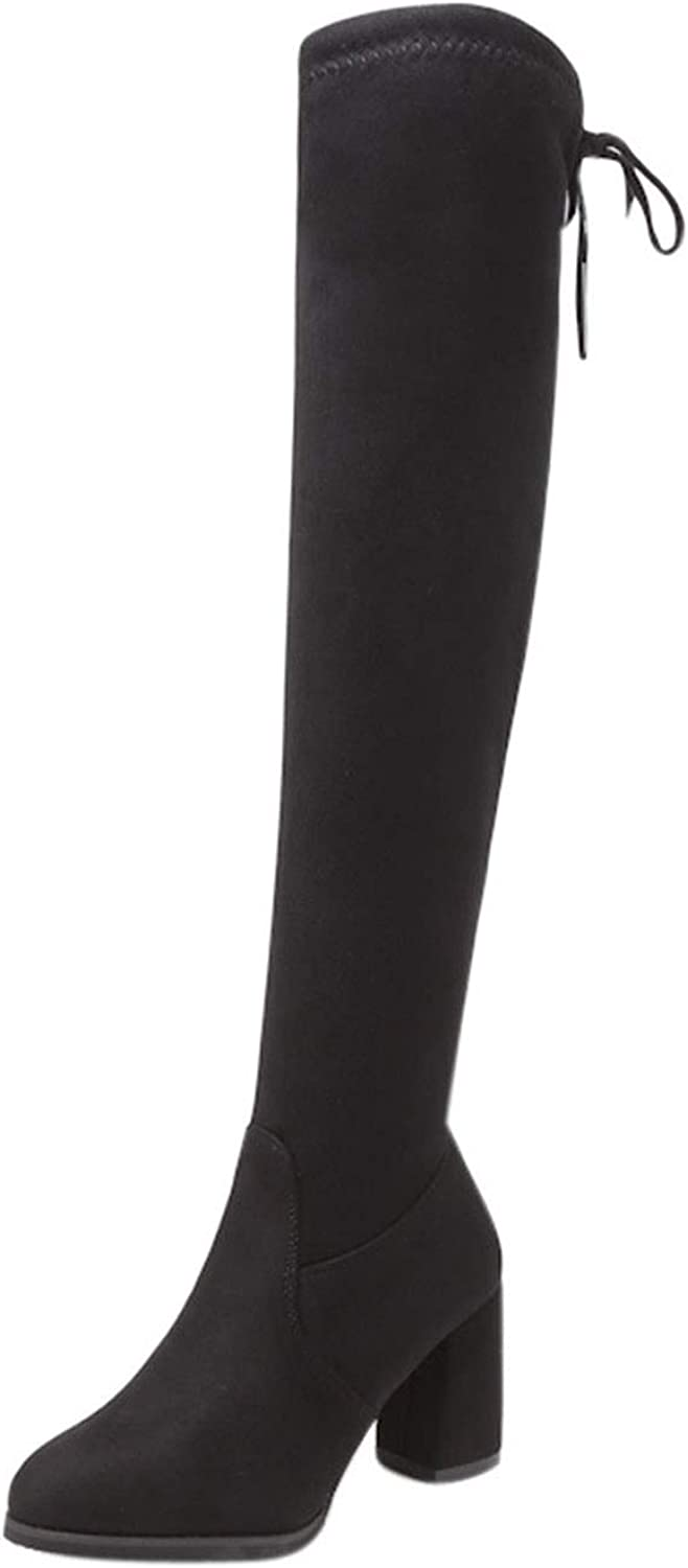 New Flock Leather Women Over The Knee Boots Lace Up Sexy High Heels Boots Warm Size 35-40