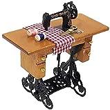TEAYASON Mini Máquina de Coser Casa de Muñecas en Miniatura Máquina de Coser a Escala 1:12 para Decoración de Casa de Muñecas Marrón 1 Paquete