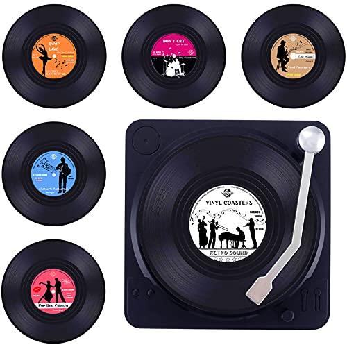 Untersetzer Gläser, Valdivia Design Retro Vinyl Schallplatte Untersetzer mit Basis und einzigartige Etiketten, Getränk Untersetzer 6er Set mit Geschenk Box, für Bars, Cafés, Haus, Party, Büro