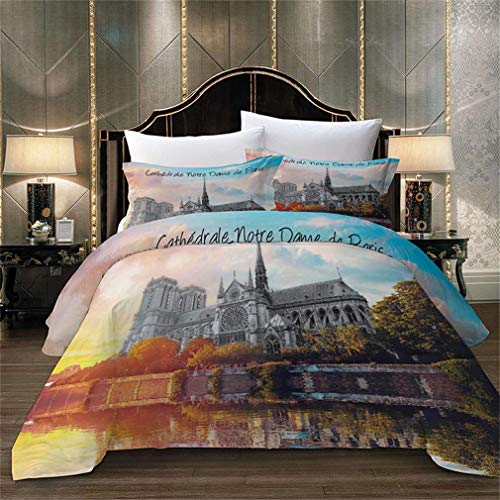 MXSS Duvet Cover Set,Notre Dame Cathedral Paris Gothic Trees Forest Sunshines Cloudy SkyDecorative 2/3 Piece Bedding Set with1/2 Pillow Sham,Best Gift for Kids & Adult (Double)