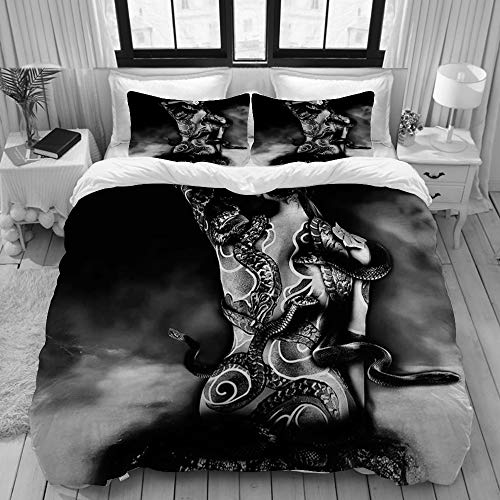 Yaoniii Bettwäsche 3 Teilig Bettgarnitur,Mädchen Yakuza Tattoo Einer Schlange von einem Clan sinoby sitzt auf einem Stein bei Water,Gemütlich 3D Mikrofaser Bettbezug Set + 2 Kissenbezug 135 x 200 cm