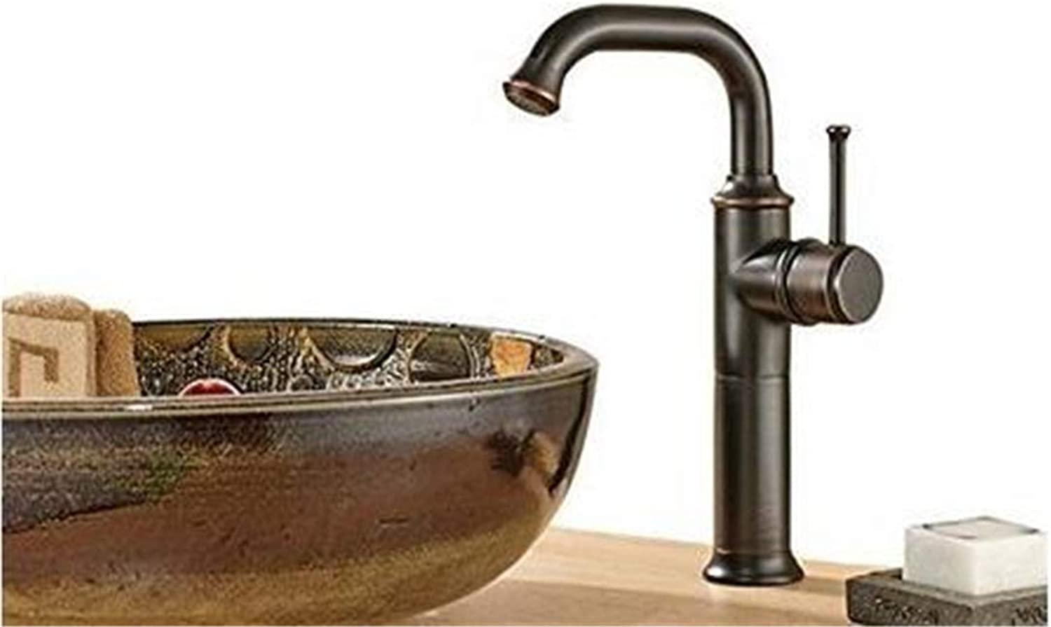 Faucets Basin Mixer Sink Faucet Tall Bow Solid Brass Oil Rubbed Blackened Black Hotel Style