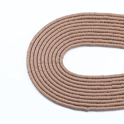 WEIMEIDA JQBB506 4mm / 6 mm Polímero de Color marrón Plano Redondo Plano Rebanadas para Las niñas Pulsera Hacer el Collar de Bricolaje y Accesorios de Pulsera Snttz (Item Diameter : 4mmx1mm)