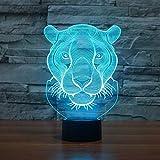 Lámpara de mesa 3D con cabeza de león creativa, luz de noche de arte LED, lámpara de mesa 3D, decoración de regalo