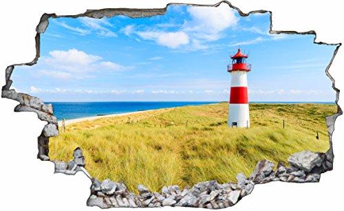 DesFoli Leuchtturm Trum Strand Meer 3D Look Wandtattoo 70 x 115 cm Wanddurchbruch Wandbild Sticker Aufkleber C529