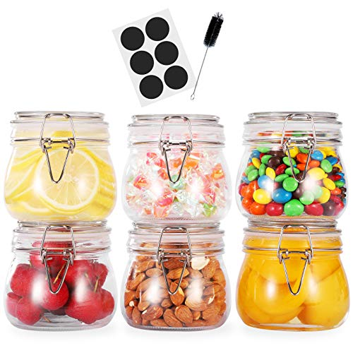 Glotoch 17oz Airtight Glass Canister,6 Pack Food Storage Jar Round with Lids - Storage Container with Clear Preserving Seal Wire Clip Fastening for Kitchen Canning Cereal,Pasta,Sugar,Beans,Spice