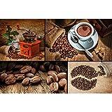 GREAT ART XXL Póster – Collage de café – Decoración de Pared Molinillo de café Taza en Grano de café Motivo de decoración de Cocina Café Barista Cartel de Pared Foto (140x100cm)