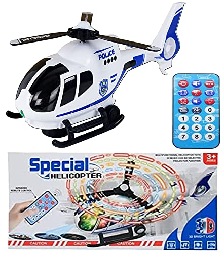 IndusBay® Light Sound Helicopter Toy for Kids Toddlers - Remote Operated , Bump & Go , 3D Bright Light & Sound , Projection - Toy (Runs On GOUND )