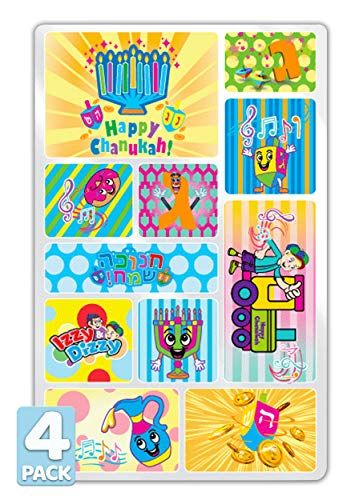 Izzy 'n' Dizzy Hanukkah Stickers Motion and 3D- Sheet of Chanukah Stickers - Holiday Stickers - 11 Fun Hanukkah Designs - 4 Pack