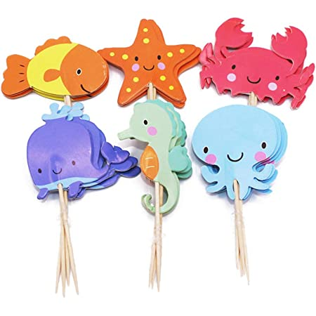 PRETYZOOM 48pcs Ocean Sea Animal Cupcake Toppers Fish Starfish Balena Polpo Granchio Sea Horse Cake Cake Topper Picks Birthday Party Supplies Favori