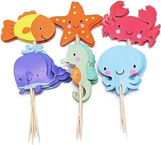 PRETYZOOM 48pcs Ocean Sea Animal Cupcake Toppers Fish Starfish Balena Polpo Granchio Sea Horse Cake Cake Topper Picks Birt...
