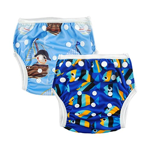 ALVABABY Boys and Girls Swim Diapers 2pcs Reuseable Adjustable 0-2 Years SW03-04